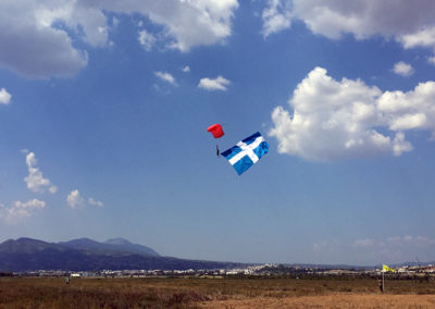 Landing the Greek flag